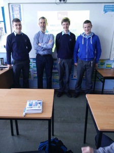 Aran McMahon from Rua pictured with students Stephen McDermott, Daniel Conway and Steven O Brien